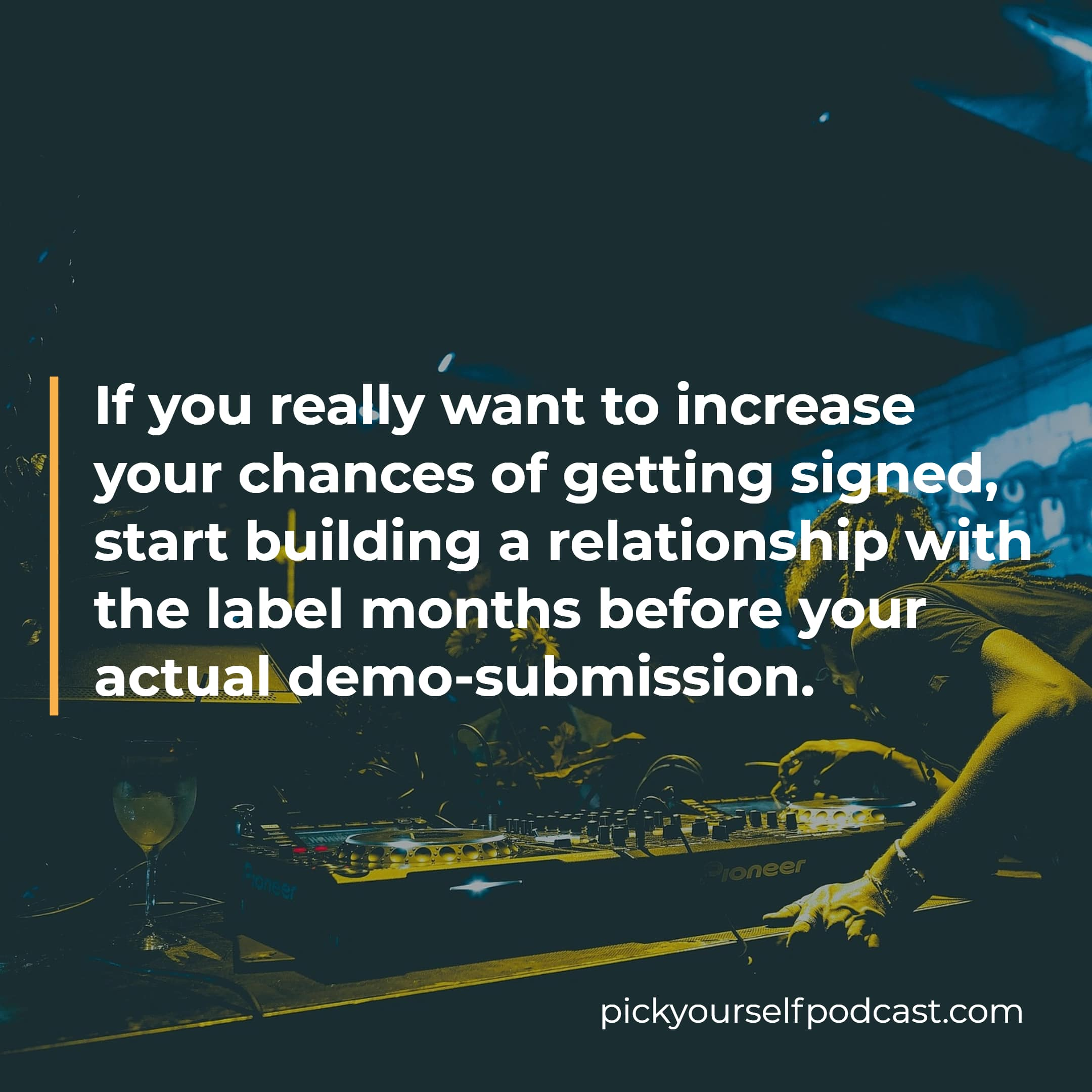 How to submit songs to labels visual 02. It says: If you really want to increase your chances of getting signed, start building a relationship with the label months before your actual demo-submission.