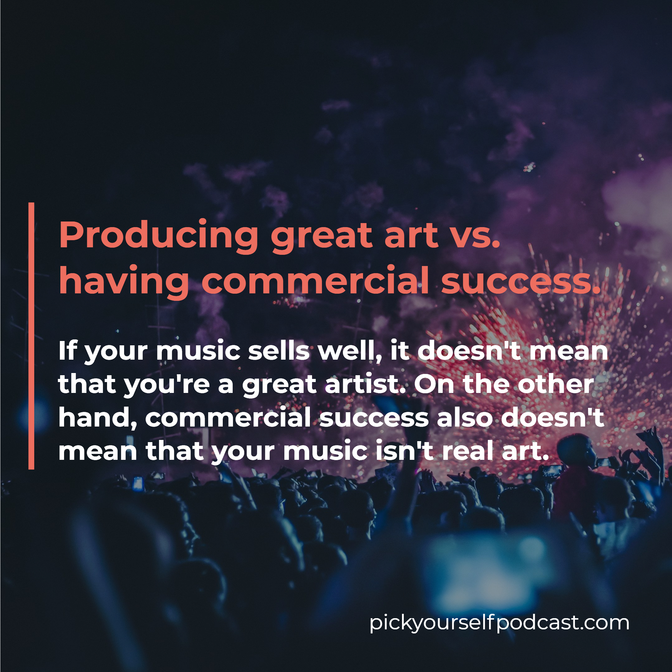 Art vs. capitalism visual 01: Producing great art vs. having commercial success.