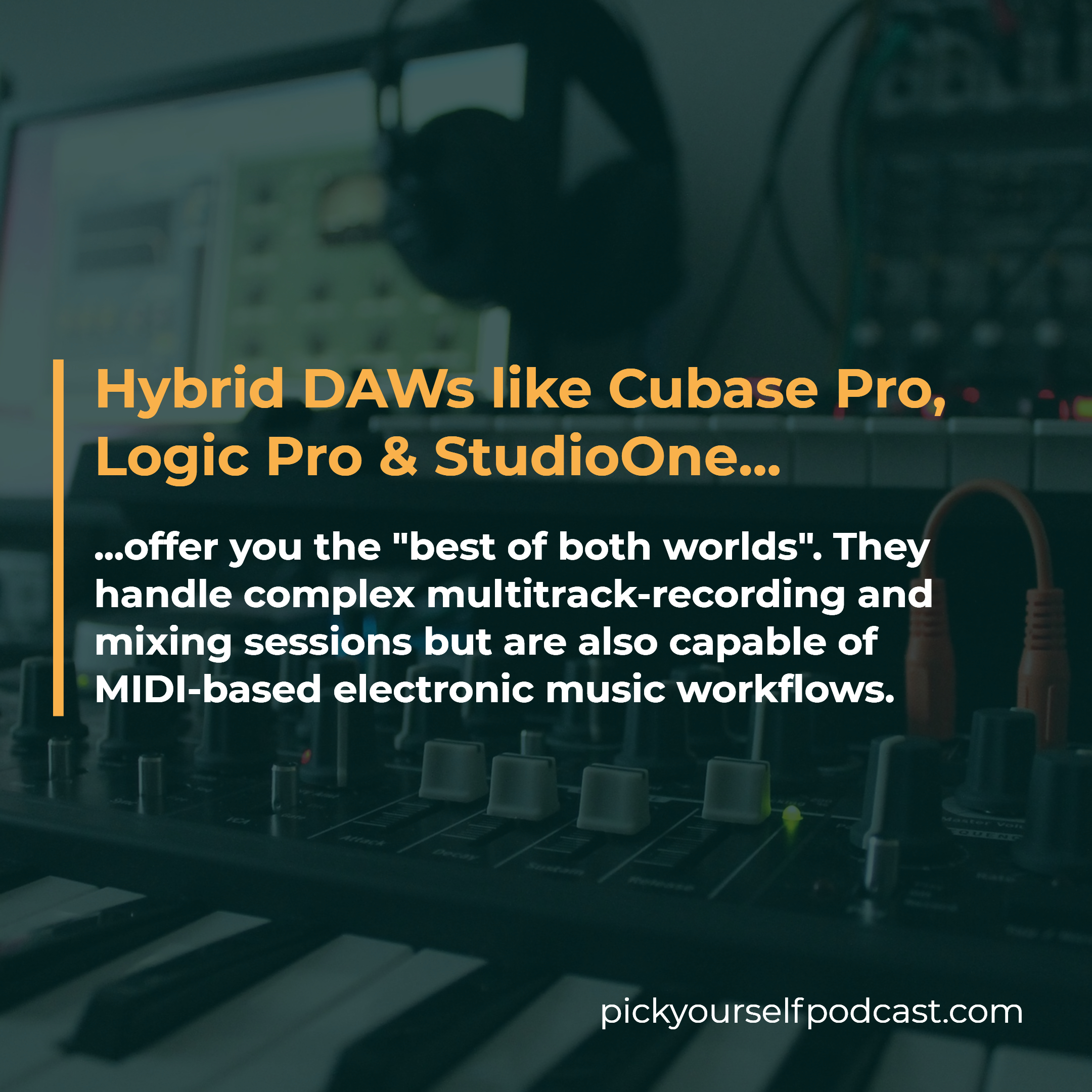Hybrid DAWs like Cubase Pro, Logic Pro, and Studio One offer you the best of both worlds.