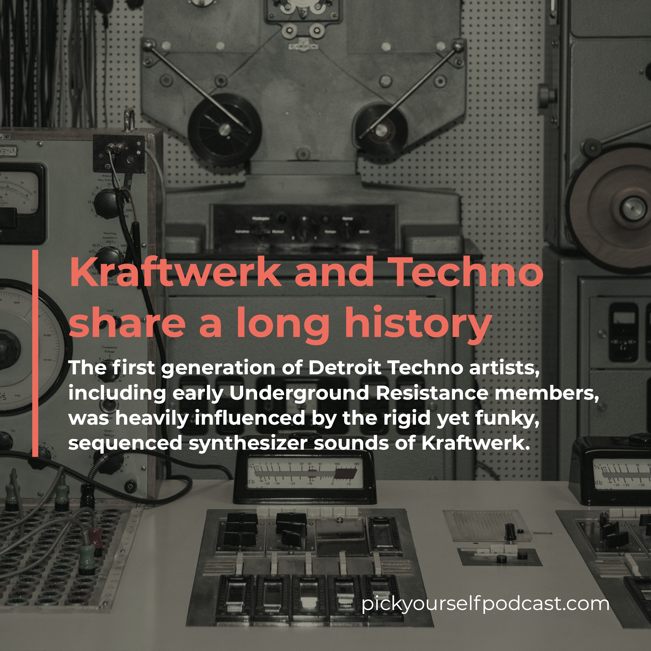Kraftwerk and Techno share a long history. The first generation of Detroit Techno Artists was heavily influenced by the rigid yet funky sound of Kraftwerk.