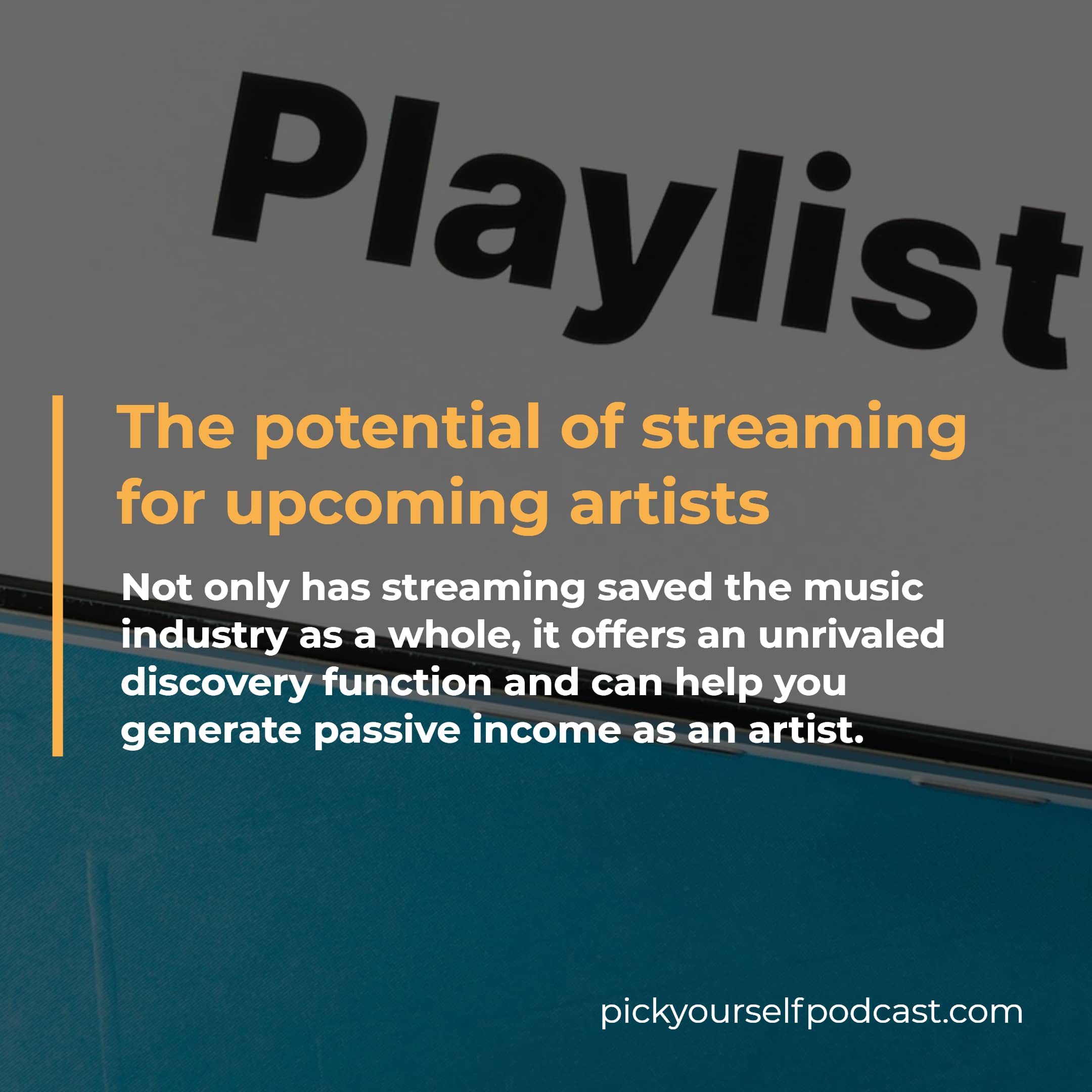 Streaming services can also be good for artists because they have saved the music industry. Also, they help you be discovered by new fans.